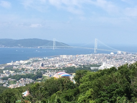 Distant view of Akashi-Kaikyo bridge